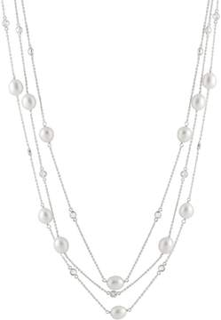 Bella Pearl Tin Cup Sterling Silver Pearl CZ Necklace