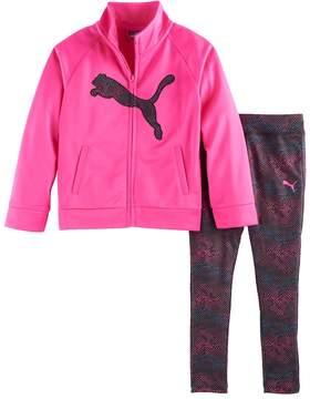 Puma Girls 4-6x Logo Jacket & Print Leggings Set