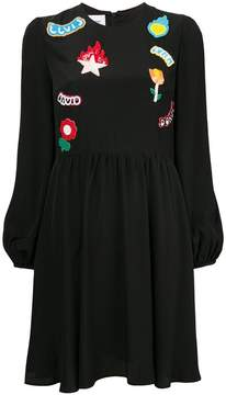 Dondup patched long-sleeved dress