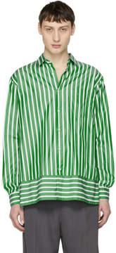 Ami Alexandre Mattiussi Green and White Summer Fit Shirt