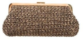 Michael Kors Woven Raffia Frame Clutch - BROWN - STYLE