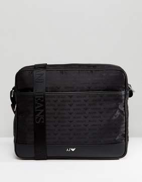 Armani Jeans Nylon All Over Logo Messenger Bag in Black