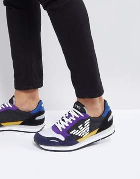 Emporio Armani Suede Mix Sneakers In Multi