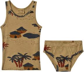 Bobo Choses Brown Desert Gombe Lark Set T-Shirt And Slip