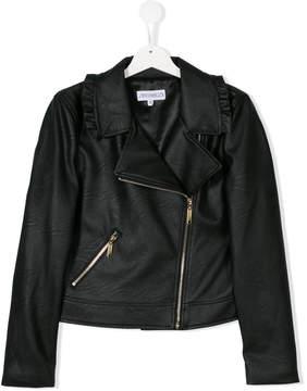 Simonetta ruffled biker jacket