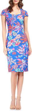David Meister Floral Print Crepe Sheath Dress