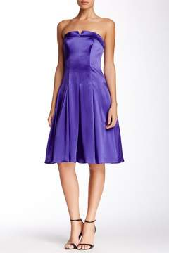 ABS by Allen Schwartz Bustier Bodice Strapless Pleated Dress