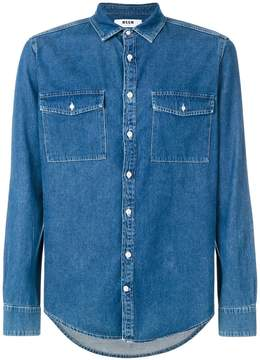MSGM logo print denim shirt