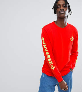 Converse Long Sleeve Top With Arm Print In Red Exclusive To ASOS