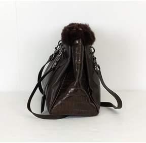 Stuart Weitzman Brown Leather Bag w/ Fur