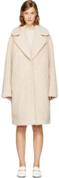 Carven Beige Shaggy Faux-Fur Coat