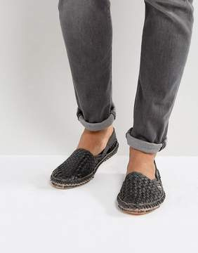 Dune Freedom Woven Shoes In Black Nubuck