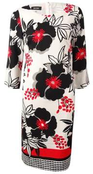 Nine West Women's Floral Crepe Shift Dress (4, Summer Flame Combo)