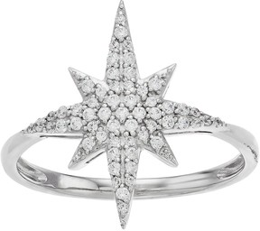 Vera Wang Simply Vera Sterling Silver 1/4 Carat T.W. Diamond Starburst Ring