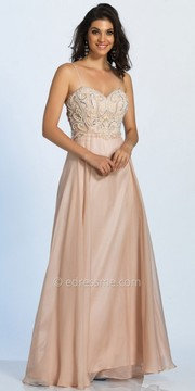 Dave and Johnny Sweetheart Rhinestone Embellished Cut Out Back Prom Dress