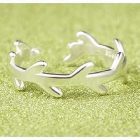 Alpha A A Silver Tone Leaf Branch Leaf Ring - One Size Fits all
