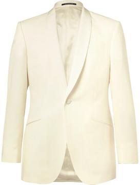 Richard James Ivory Slim-Fit Grosgrain-Trimmed Wool Tuxedo Jacket