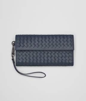 Bottega Veneta Continental Wallet In Denim Intrecciato Nappa Leather