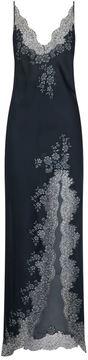 Carine Gilson Chantilly Lace Trim Silk Split Nightdress