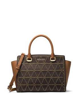 MICHAEL Michael Kors Selma Medium Studded Twill Satchel Bag - BROWN - STYLE