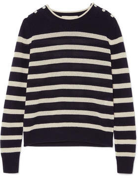 Vanessa Bruno Izara Striped Waffle-knit Wool And Cashmere-blend Sweater - Midnight blue