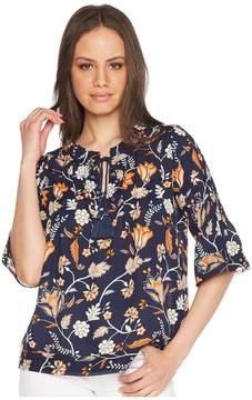 Romeo & Juliet Couture Floral Print Tie Up Front Top Women's Clothing