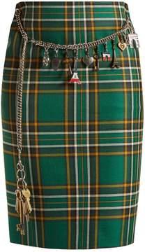 Balenciaga Tartan chain-belt pencil skirt
