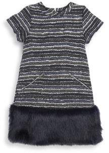 Andy & Evan Little Girl's Faux Fur Hem Shift Dress