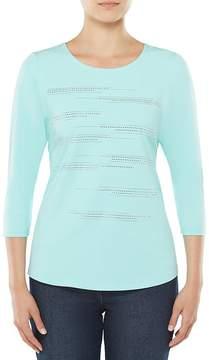 Allison Daley Embellished 3/4 Sleeve Knit Top