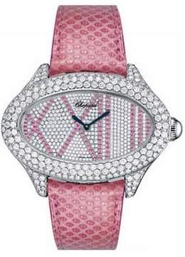 Chopard Montres Dame Cat Eye Diamond Dial Pink Lizard Skin Ladies Quartz Watch