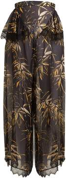 Rodarte Palm-print silk-blend chiffon trousers