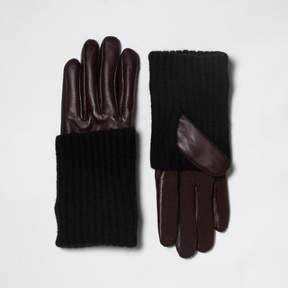 River Island Womens Dark red leather knitted panel gloves