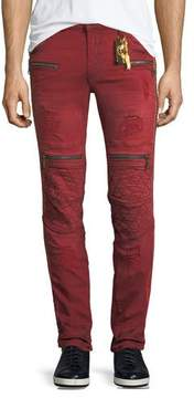 Robin's Jeans Distressed Zip-Trimmed Moto Jeans
