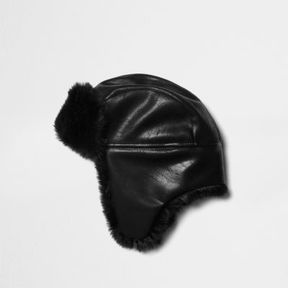 River Island Mens Black faux fur lined trapper hat