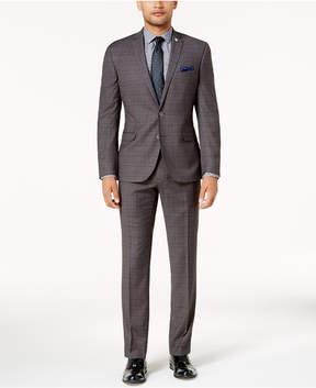 Nick Graham Men's Slim-Fit Stretch Charcoal Glen Plaid Suit