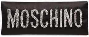 Moschino Logo Crystal Satin Clutch