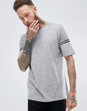 MANGO Man Striped Sleeve T-Shirt In Gray