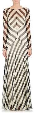 Alberta Ferretti Women's Striped Silk Chiffon Gown
