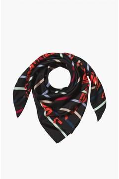 Sonia Rykiel | Silk Twill Stripe Print Square Scarf