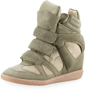 Isabel Marant Beckett Suede Grip-Strap Wedge Sneakers