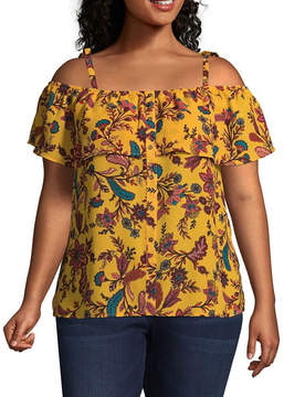 Boutique + + Cold Shoulder Floral Woven Blouse - Plus