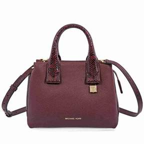 Michael Kors Rollins Small Snake-Embossed Leather Satchel- Oxblood