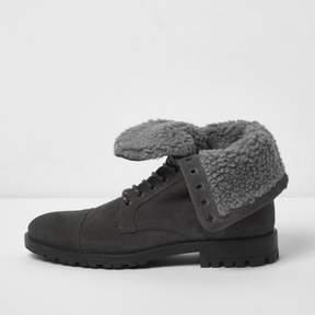 River Island Mens Grey fleece lined suede work boots