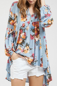 Blu Pepper Floral Crochet Tunic