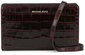 MICHAEL Michael Kors Crocodile-Embossed Large Cross-Body Clutch - CHESTNUT - STYLE