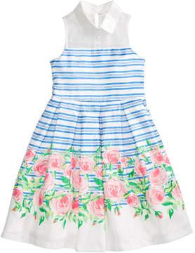 Bonnie Jean Striped Floral-Print Dress, Big Girls