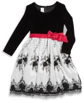 Iris & Ivy Little Girl's Tri-Tone Velvet Dress