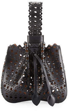 Alaia Lux Laser Cut Bucket Bag, Noir