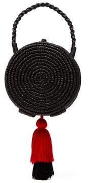 Sensi Studio - Tasselled Straw Basket Bag - Womens - Black