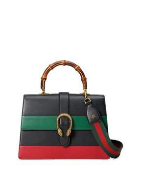 Gucci Dionysus Striped Bamboo Top-Handle Bag - BLACK/GREEN/RED - STYLE
